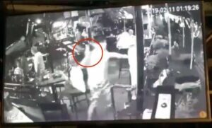 Australian/Scottish National attacks 71 year old fellow bar customer unsolicited with bottle from behind, arrested. The following video was shared on