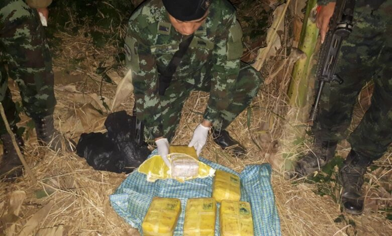 Meth tablets seized from Mae Sai banana plantation. Some 50,000 methamphetamine tablets were seized by rangers of the Pha Muang task