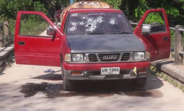Two killed in Songkhla after attackers sprayed bullets on their pickup. A man and a woman riding on a pickup were killed on Saturday morning when a group