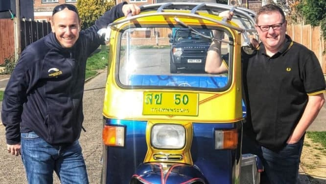 """Brit wants to break speed record in a Tuk Tuk. A British man who bought a Thai tuk-tuk during a """"boozy night on eBay"""" has souped the three-wheeled vehicle"""