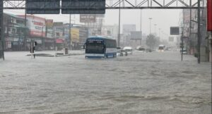 Pattaya under water following two hours of heavy rain. The seaside city of Pattaya was under water early Tuesday afternoon following two hours of