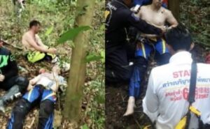Unnamed foreigner suffers stoke on Pattaya hillside Sawang Boriboon rescue foundation needed to mount a three hour operation on foot to reach a