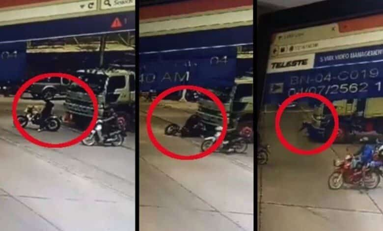 NEVER stop in front of a truck CCTV footage from Nakorn Nayok showed a truck trailer drive over a motorcyclist at a red light and propel him under