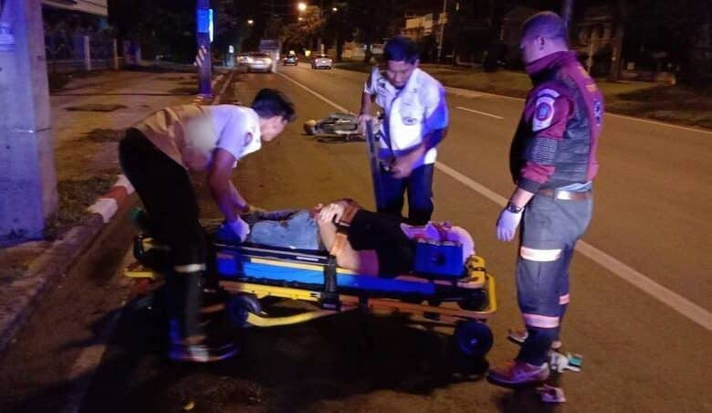 British teacher seriously injured in Thailand. A British expat is in hospital with serious injuries after the motorbike he was riding struck a roadside