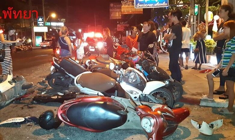 Car crashes into 11 parked motorcycles in Pattaya. Police are questioning an alleged drunk driver after a sedan crashed into 11 parked motorcycles in