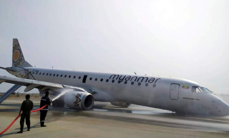 Video: Emergency landing for passenger jet with no front wheels. A Myanmar pilot saved the day after his aircraft's landing gear failed, forcing the