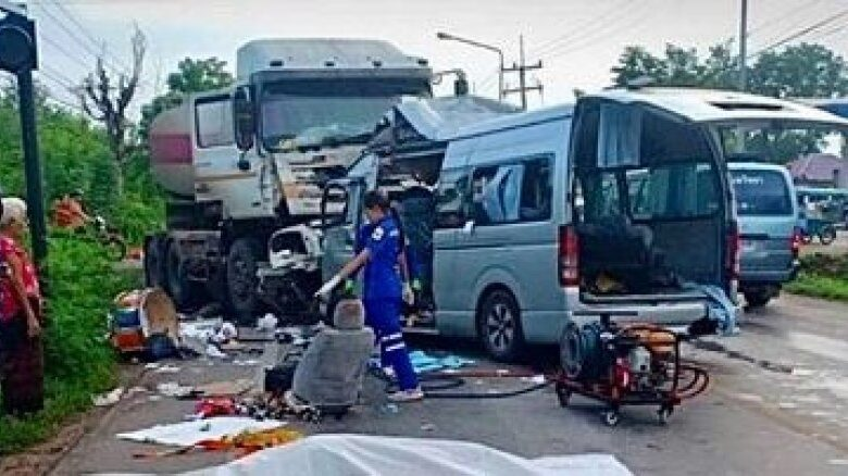 Head-on crash kills five football fans in Khon Kaen. Five fans of Thai Port Football Club were killed and three others injured when their rented van crashed
