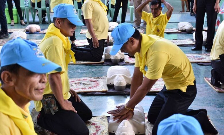 Health Ministry to train 10 million Thais to save people experiencing heart attacks. The King's Volunteer 904 Central Coordination Centre has assigned the