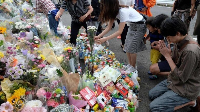 Japan police search home of stabbing attacker. Japanese police on Wednesday searched the home of the man behind a stabbing rampage in the town of
