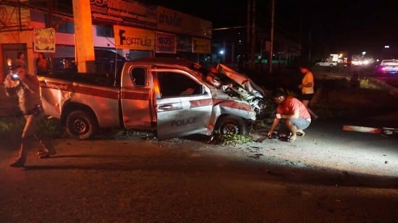 Man captured after he crashes pickup allegedly stolen from police. A 20-year-old Thai man, who had allegedly stolen a police pickup truck under the