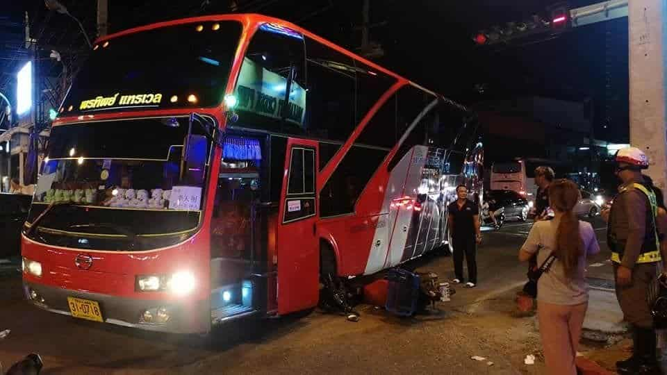 Motorcyclist lightly injured after bus crushes bike in Pattaya. A motorcyclist has survived after being run over by a tour bus in Pattaya at 9pm last night