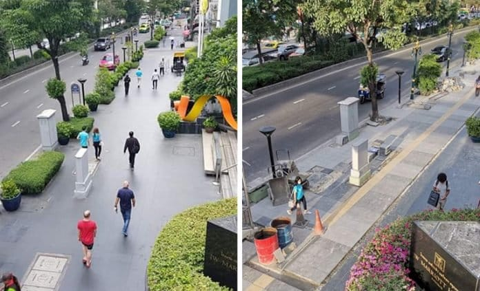 NETIZENS GROAN AT 'IMPROVED' SUKHUMVIT PAVEMENT. Days after City Hall destroyed the pavement in front of a five-star hotel for not being standard issue