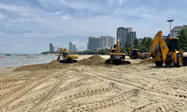 Pattaya again patches up flood-battered beach. Pattaya again has been patching huge holes in its rebuilt beachfront caused by poor storm-drainage