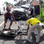 Pick-Up crashes into TOUR BUS leaving FOUR dead. CCTV showed what happened when a pick-up collided with a motorcycle then a tour bus late Monday
