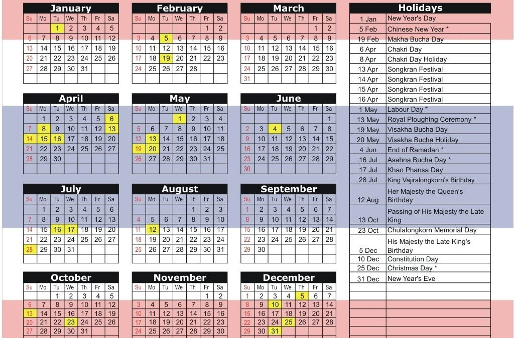 Public Holidays in Thailand for 2019