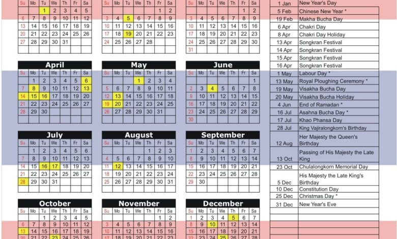Public Holidays in Thailand for 2019. This page contains a national calendar of all 2019 public holidays for Thailand. These dates may be modified