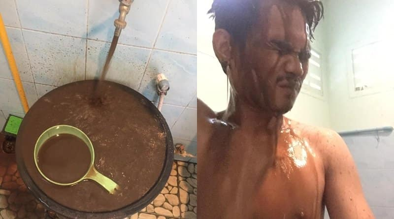 Rayong tap water turns into chocolate milk. A man from Rayong posted pictures of himself showering with muddy water in Rayong. He later revealed