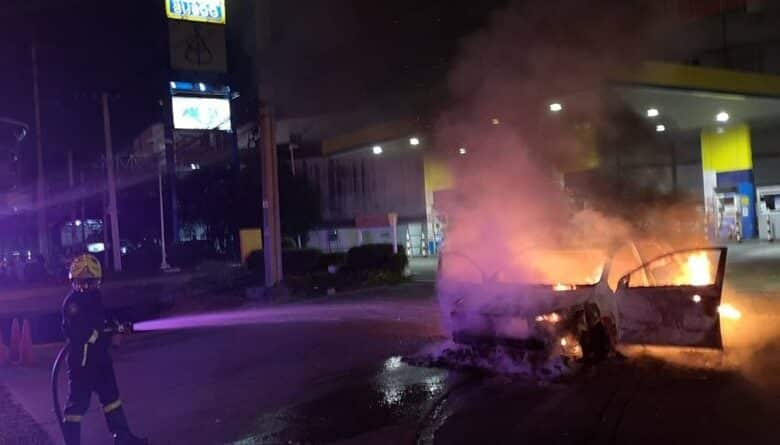 Taxi catches on fire while refilling NGV. A Taxi caught on fire yesterday (21 May 2019) while refilling NGV in a gas station, luckily no one was harmed in