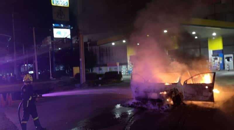 Taxi catches on fire while refilling NGV