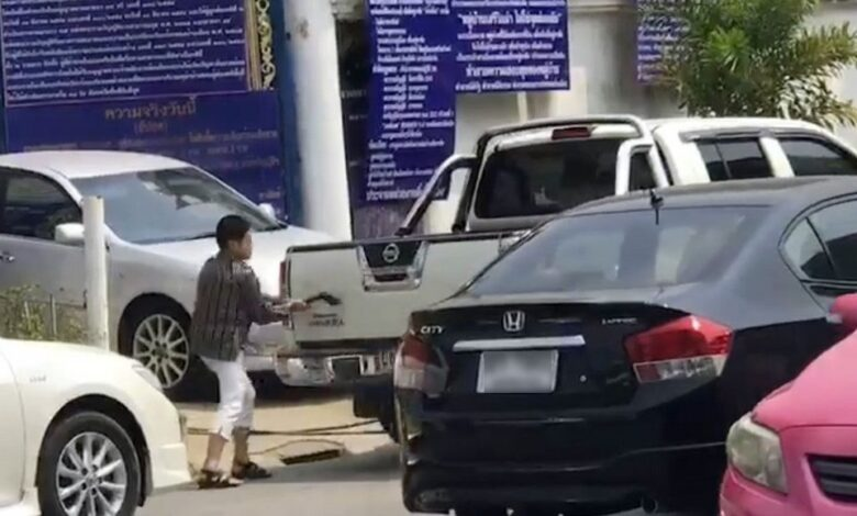 Thai women take AXE to car parked outside their house. The two so-called 'furious aunts' were handed a suspended jail term, on top of a fine of Bt12,000