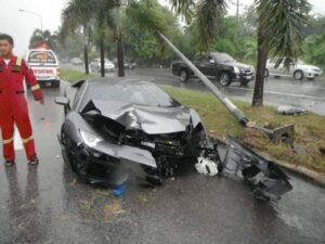 Million Dollar Lamborghini SMASHED in Pattaya. A father and son, driving in a Lamborghini sports car, have survived after colliding with power poles in Chon