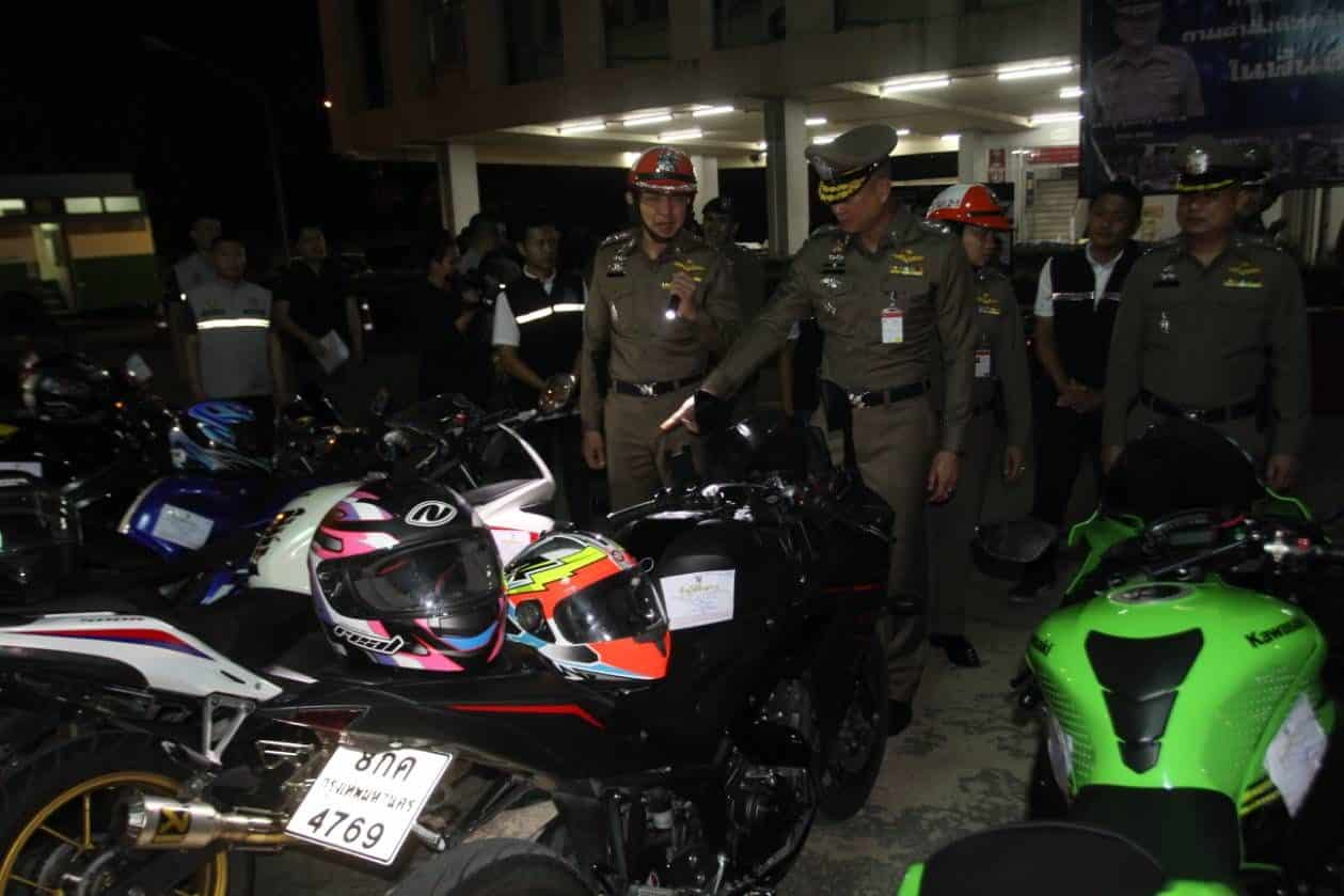 77 motorcyclists arrested in road racing crackdown. Bangkok police arrested 77 motorcyclists on Friday night after their motorcycles were modified