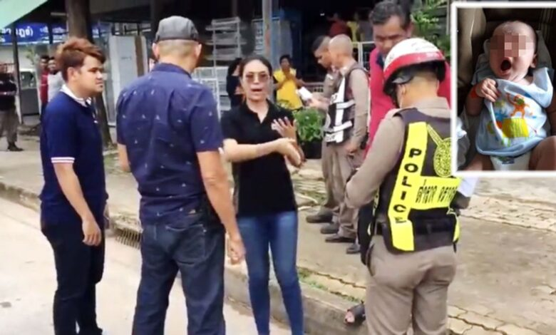 Adopted one-month-old 'snatched' by real parent. The incident in which a one-month-old baby was snatched from his 30-year-old mother in Surat Thani's Muang