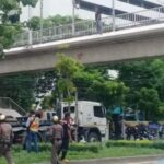 Drama as Thai woman threatens suicide from a 20ft bridge. A woman, who apparently had a mental-health disorder, was rescued after she threatened to jump