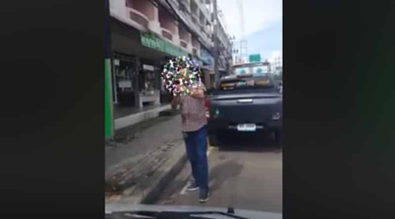 Foreigner places no parking sign on public road in Pattaya