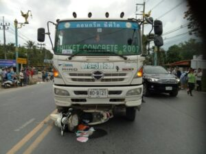 Motorcyclist crushed to death by cement truck in Thalang. A cement-truck driver has been charged with driving in Thalang on Monday afternoon.