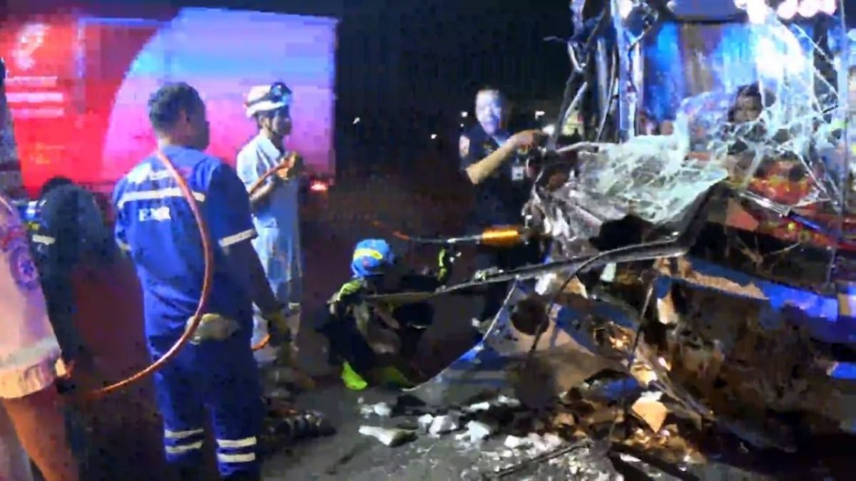 Passengers pulped as a bus smashes into a truck