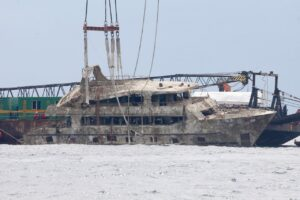 Stricken Phoenix gathers dust after auction fails to find a buyer. Last month's auction to sell the Phoenix, the tour boat that capsized causing the
