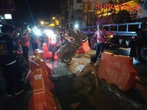 Three teenage girls in hospital after driving into an unlit 2-metre-deep trench. Three teenage girls were injured, two seriously, after crashing their
