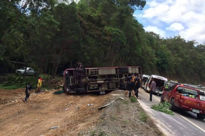 Tour bus crash at the 'Curve of a HUNDRED CORPSES'