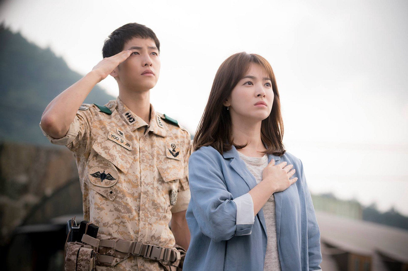 "Song Joong Ki and Song Hye Kyo in ""Descendants of the Sun"" (2016)."