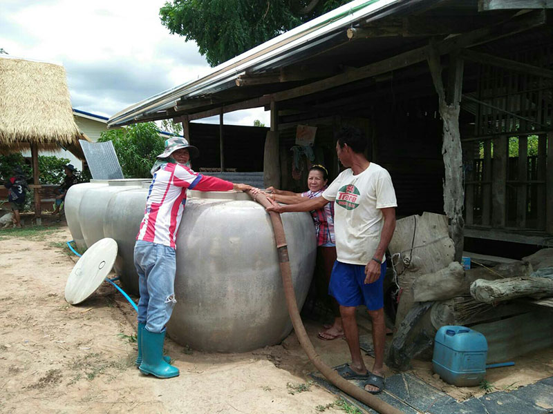 Local officials deliver water supplies to a village Aug. 28, 2019 in Nakhon Ratchasima.