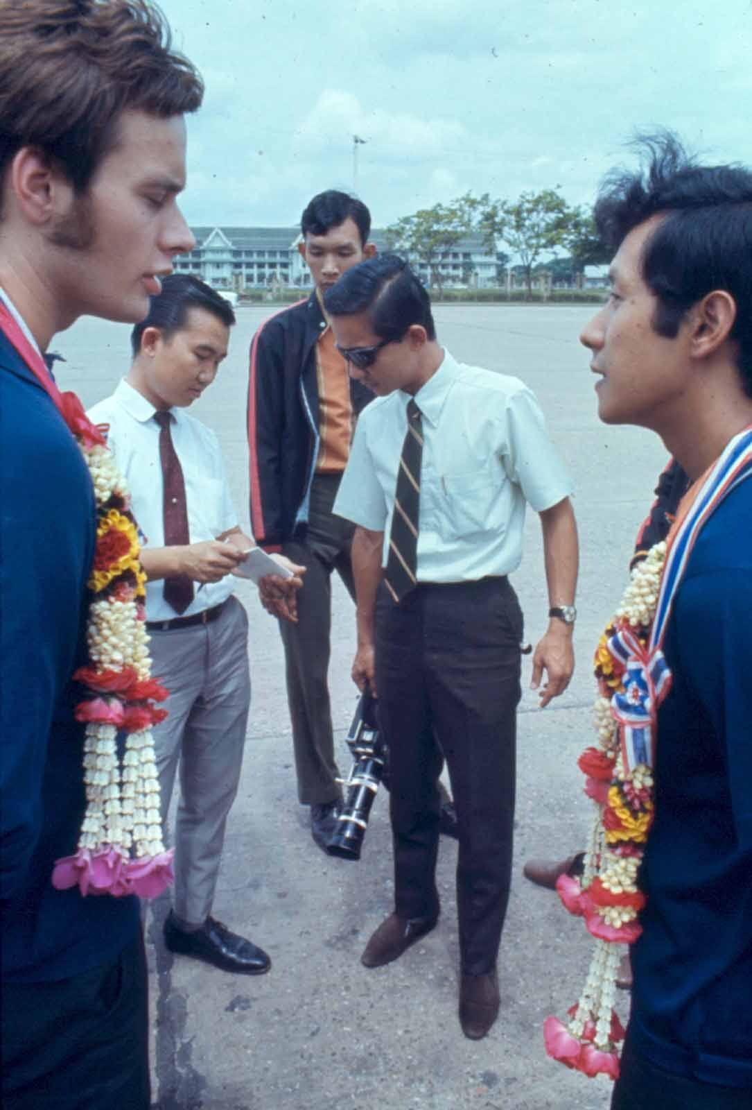 The group after arriving in Bangkok in 1970. Photo: David Shaw / Courtesy