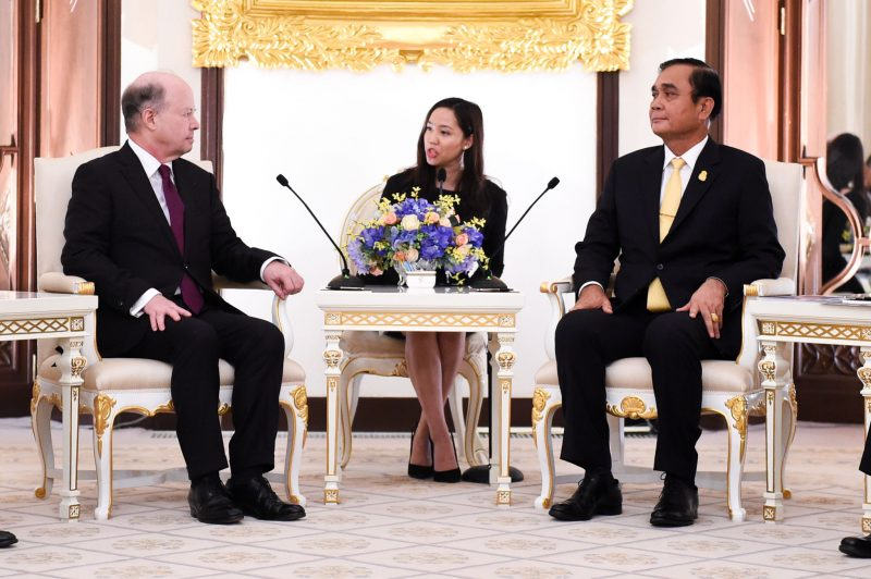 French ambassador to Thailand Jacques Lapouge meets Prime Minister Prayuth Chan-ocha at Government House in Bangkok on March 4, 2019.