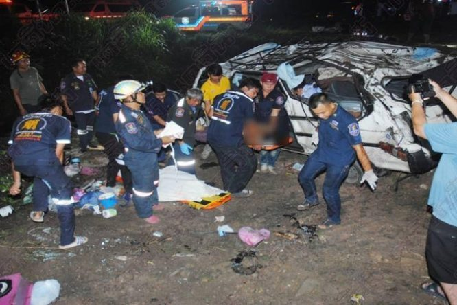 Passenger van crash kills THREE, injures NINE others