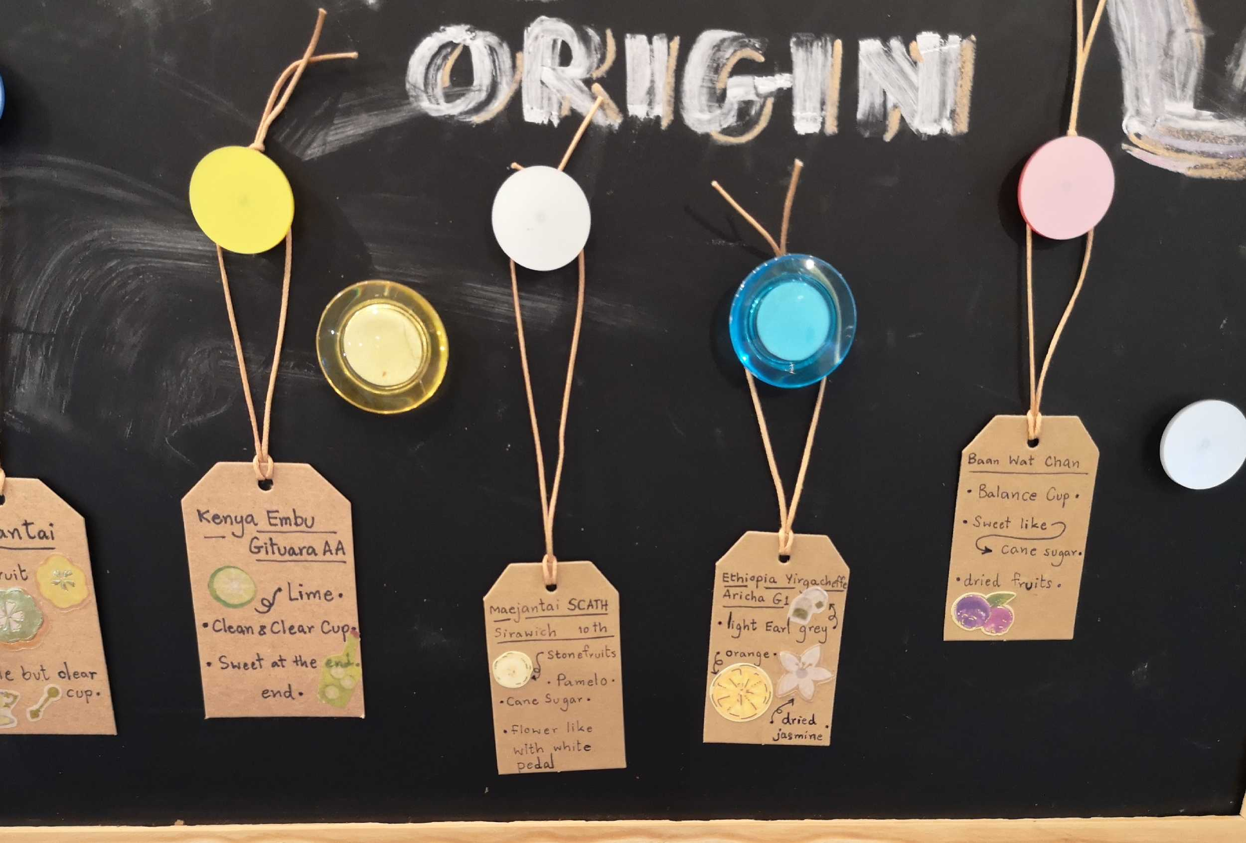 Tags showing the origins and flavor notes of each bean.
