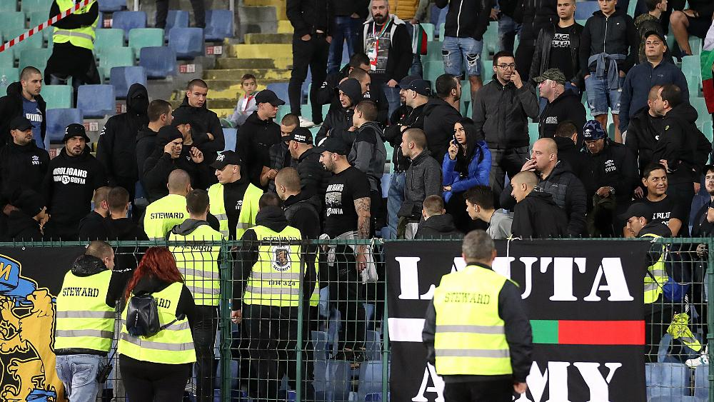 Bulgarian police arrest six after racist abuse hurled at England players during Euro 2020 qualifier