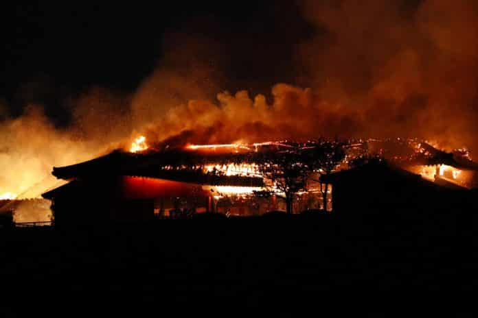 Fire Burns Down Structures at Historic Japanese Castle