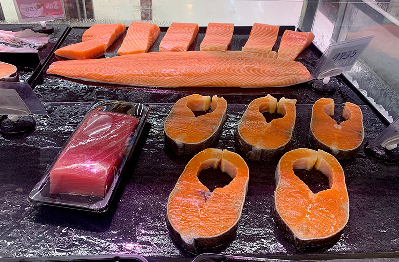Norwegian salmon for sale at a Thai supermarket.