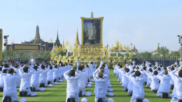 Thai people join merit-making ceremonies in remembrance of the passing of late King Bhumibol Adulyadej