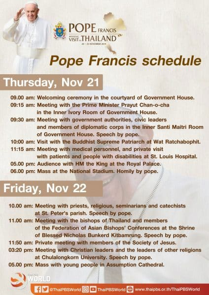 Schedule for Pope Francis Thailand visit