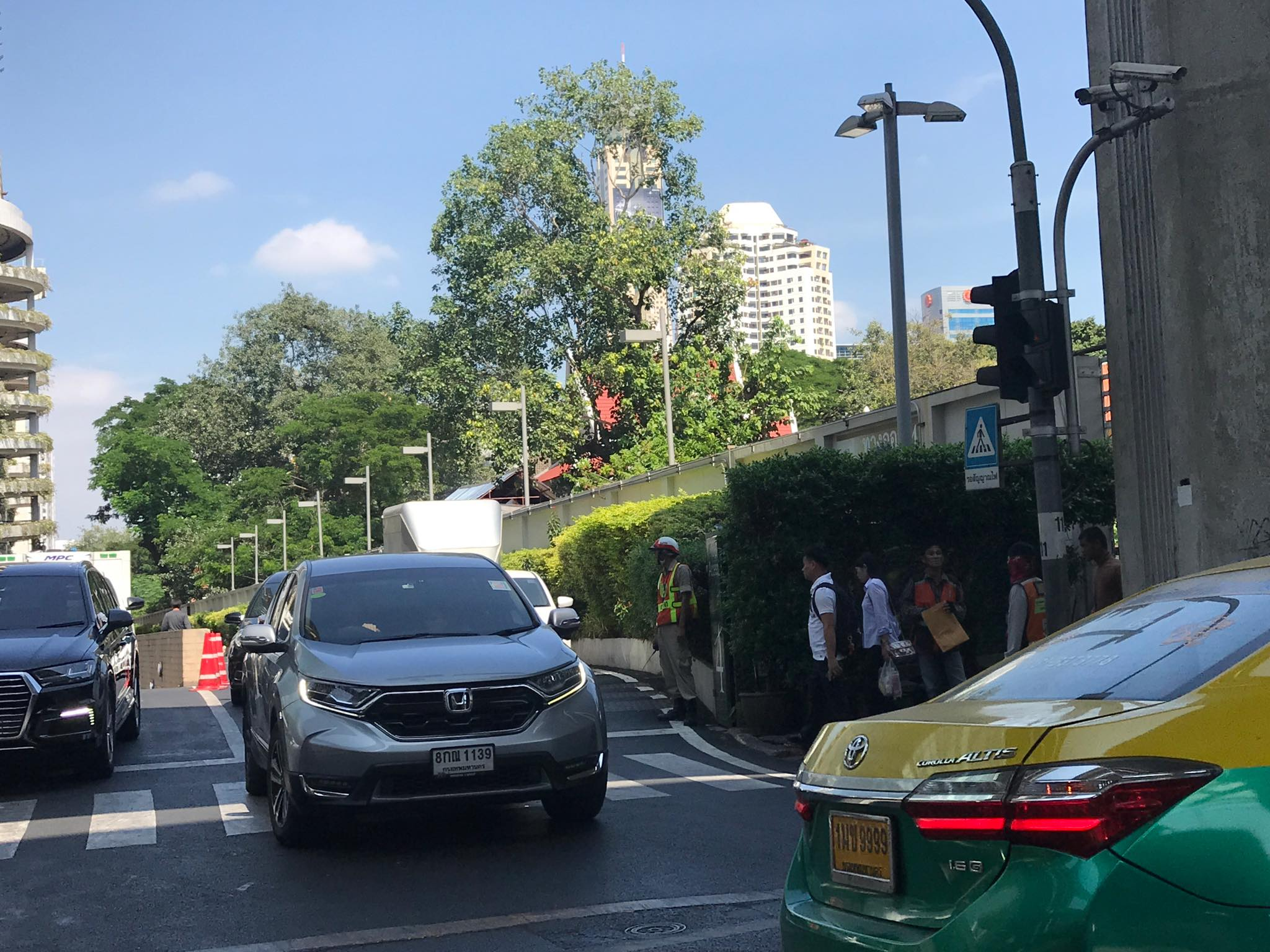 The spot in front of Siam Paragon where Arielle Struhl alleges the motorcycle taxis crossed from to harass her for using a Grab bike. Photo: Arielle Struhl / Courtesy