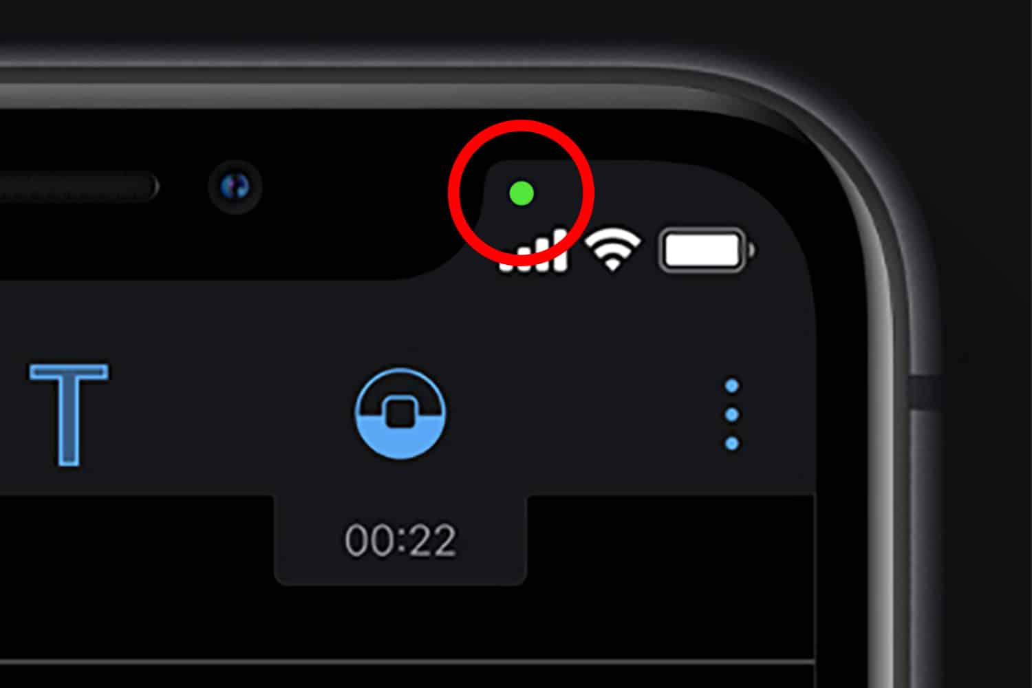 Green dot means an iOS app is currently using the camera.