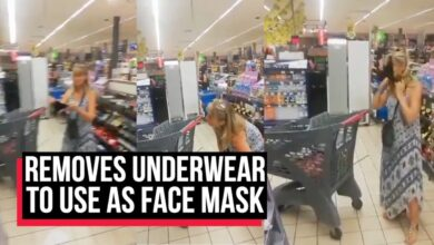 Shopper removes underwear